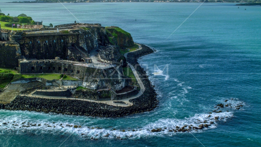 Historic coastal fort in the Caribbean, Old San Juan, Puerto Rico Aerial Stock Photo AX101_013.0000000F | Axiom Images