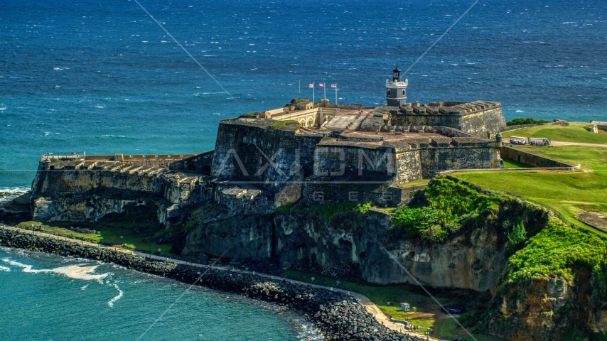 Fort San Felipe del Morro, a Caribbean fort, in Old San Juan, Puerto Rico Aerial Stock Photos | AX101_016.0000189F