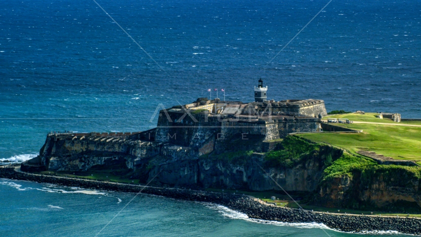 Castillo San Felipe del Morro by blue Caribbean waters, Old San Juan, Puerto Rico Aerial Stock Photos | AX101_019.0000203F