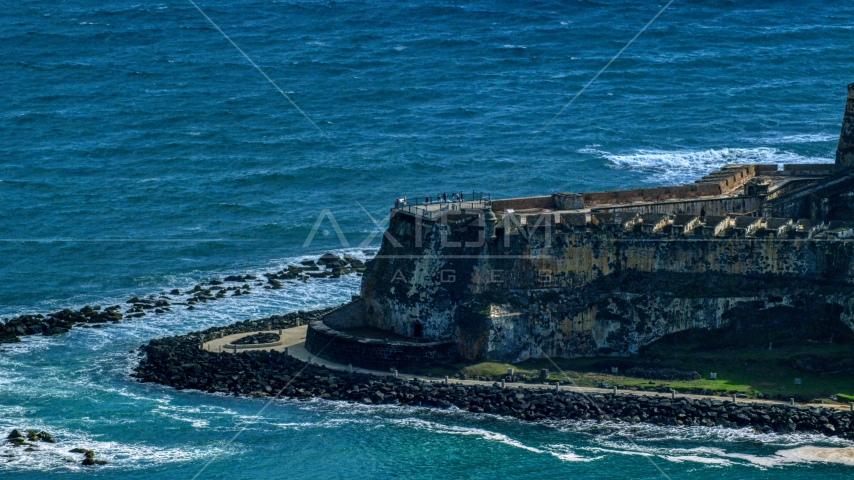 Tourists visiting the Castillo San Felipe del Morro in Old San Juan, Puerto Rico Aerial Stock Photos | AX101_021.0000000F