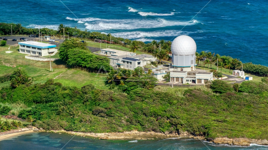 Punta Salinas Radar Site overlooking the blue waters of the Caribbean, Toa Baja, Puerto Rico Aerial Stock Photo AX101_029.0000000F | Axiom Images
