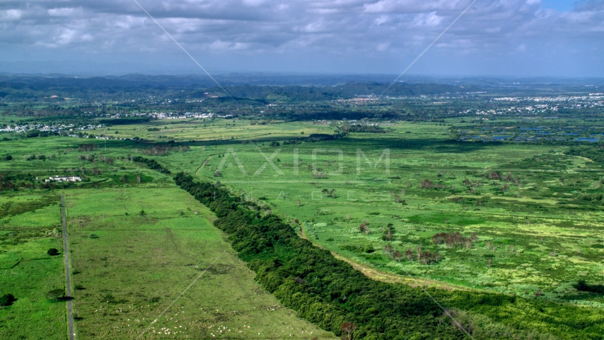 Lush green grassland, Toa Baja, Puerto Rico Aerial Stock Photos | AX101_030.0000000F