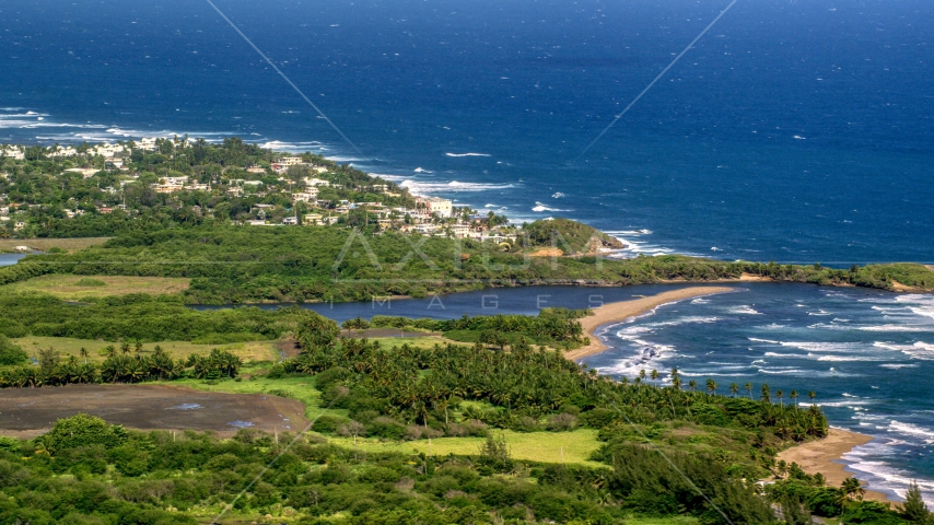 A resort town by the blue Caribbean coastal waters, Dorado, Puerto Rico Aerial Stock Photos | AX101_031.0000267F