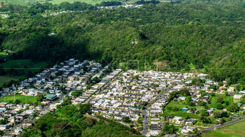 Residential neighborhoods and forest, Dorado, Puerto Rico Aerial Stock Photos | AX101_035.0000000F