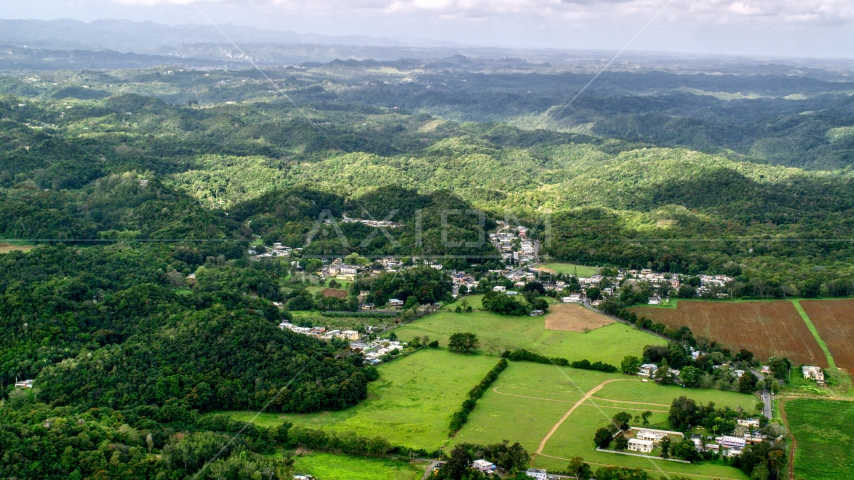 Rural homes and farmland, Vega Alta, Puerto Rico Aerial Stock Photos | AX101_037.0000000F