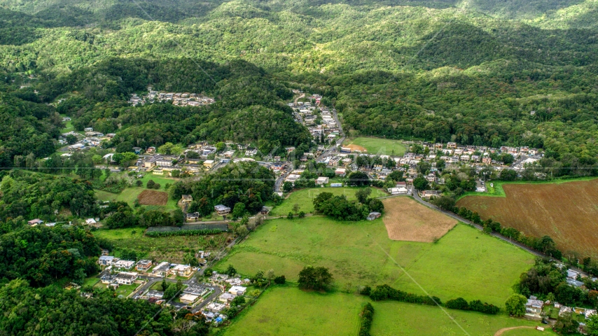 Rural homes and farm fields in Vega Alta, Puerto Rico Aerial Stock Photos | AX101_037.0000201F