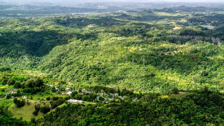 Tree covered hills and rural homes in Vega Baja, Puerto Rico Aerial Stock Photos | AX101_040.0000000F