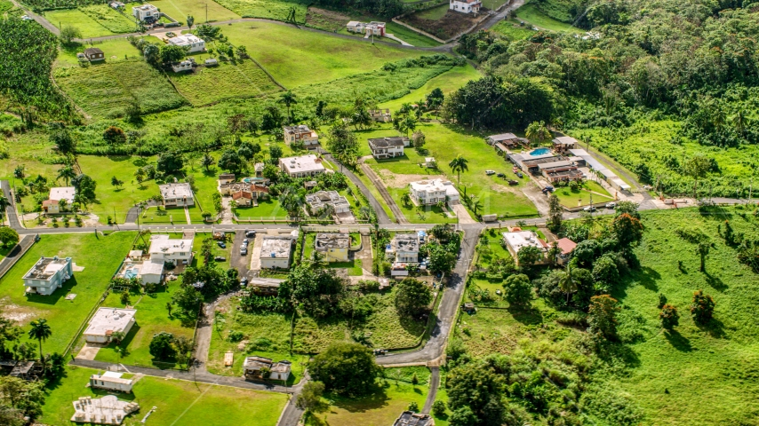 Rural neighborhood with lush green grass and trees, Vega Baja, Puerto Rico  Aerial Stock Photo AX101_043.0000368F | Axiom Images