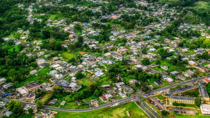 Rural homes in Morovis, Puerto Rico Aerial Stock Photos | AX101_045.0000105F