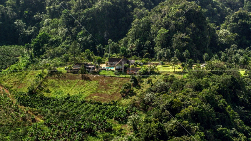 Small isolated farmhouse by lush green forests, Karst Forest, Puerto Rico Aerial Stock Photo AX101_071.0000178F | Axiom Images
