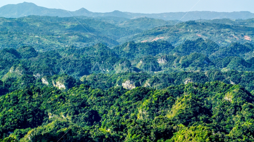 Limestone cliffs and lush green Karst Forest, Puerto Rico  Aerial Stock Photos | AX101_088.0000000F