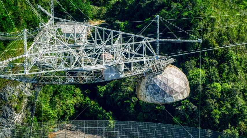 The top structure of the Arecibo Observatory, Puerto Rico  Aerial Stock Photos | AX101_099.0000000F