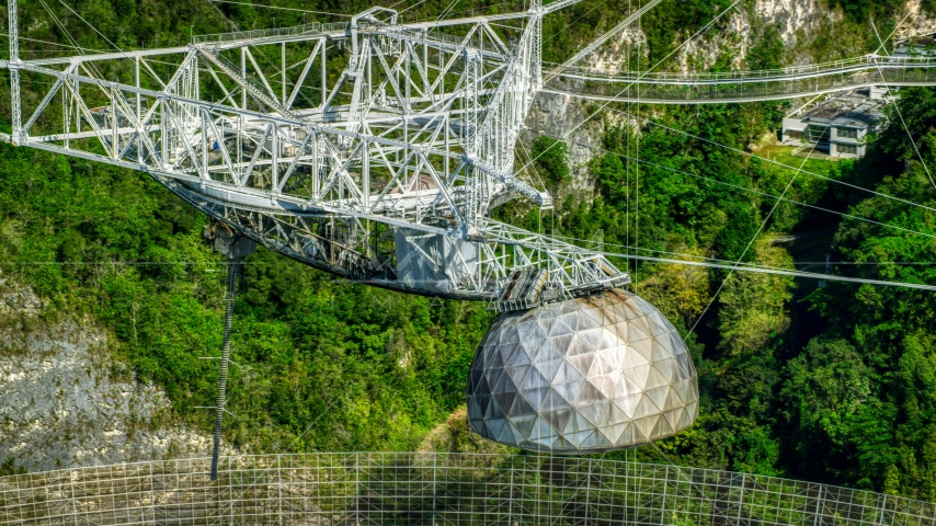 The telescope structure atop the Arecibo Observatory, Puerto Rico  Aerial Stock Photos | AX101_101.0000000F