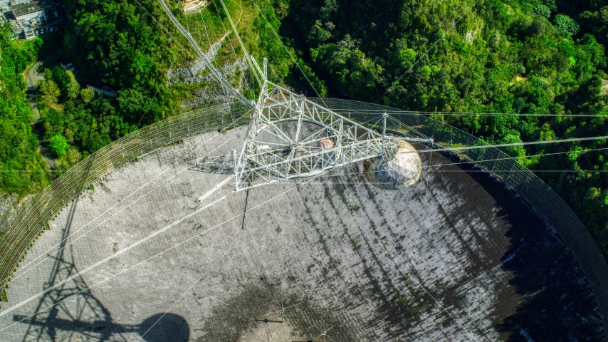 A view from above Arecibo Observatory , Puerto Rico Aerial Stock Photo AX101_118.0000249F | Axiom Images
