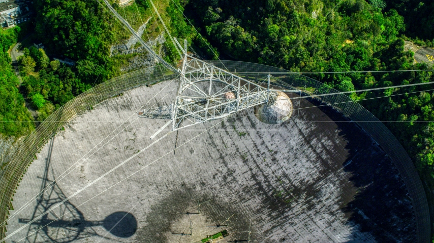 Bird's eye view of the Arecibo Observatory, Puerto Rico  Aerial Stock Photos | AX101_119.0000000F