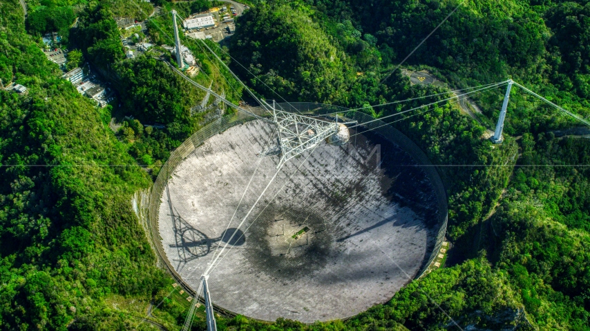 View of the Arecibo Observatory from above, Puerto Rico  Aerial Stock Photo AX101_120.0000000F | Axiom Images