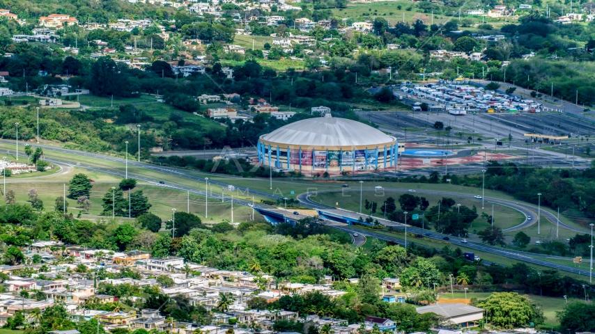 Coliseo Manuel Iguina sporting arena, Arecibo Puerto Rico Aerial Stock Photos | AX101_133.0000000F