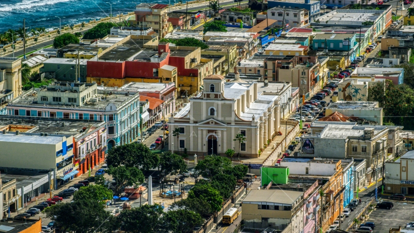 The Catedral San Felipe in Arecibo, Puerto Rico Aerial Stock Photos | AX101_137.0000312F