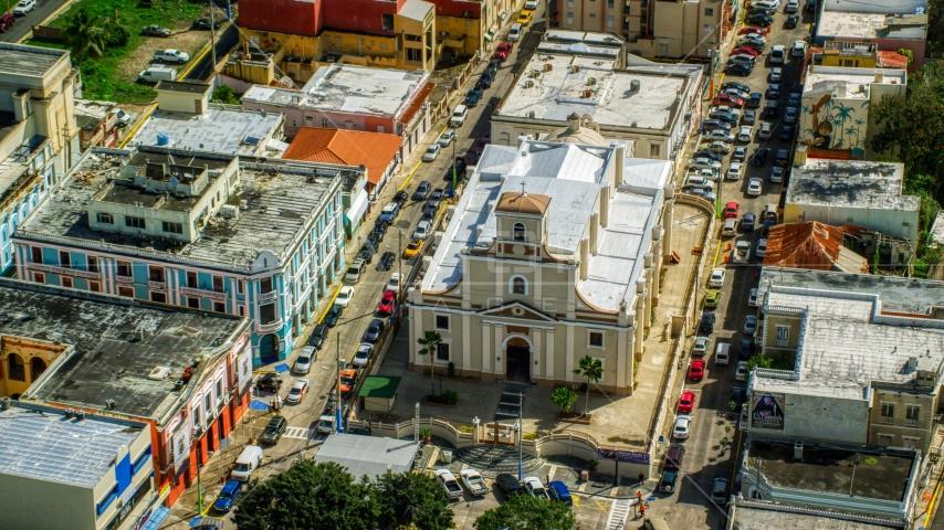 The Catedral San Felipe in Arecibo, Puerto Rico Aerial Stock Photo AX101_138.0000328F | Axiom Images