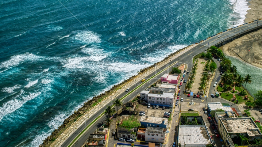 Coastal road, the Avenida Victor Rojas, in Arecibo, Puerto Rico Aerial Stock Photo AX101_139.0000000F | Axiom Images