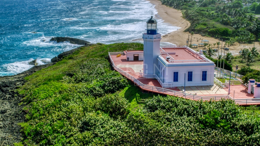 The Arecibo Lighthouse in Puerto Rico  Aerial Stock Photo AX101_149.0000194F | Axiom Images