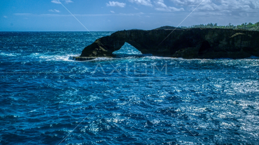 Arched rock formation and blue waters, Arecibo, Puerto Rico Aerial Stock Photo AX101_169.0000000F | Axiom Images