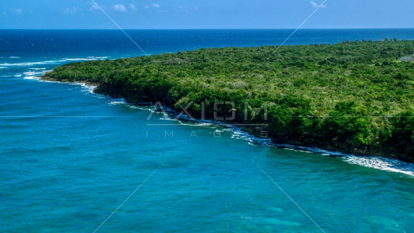 Stunning blue waters along a tree lined coast, Manati, Puerto Rico Aerial Stock Photos | AX101_195.0000097F