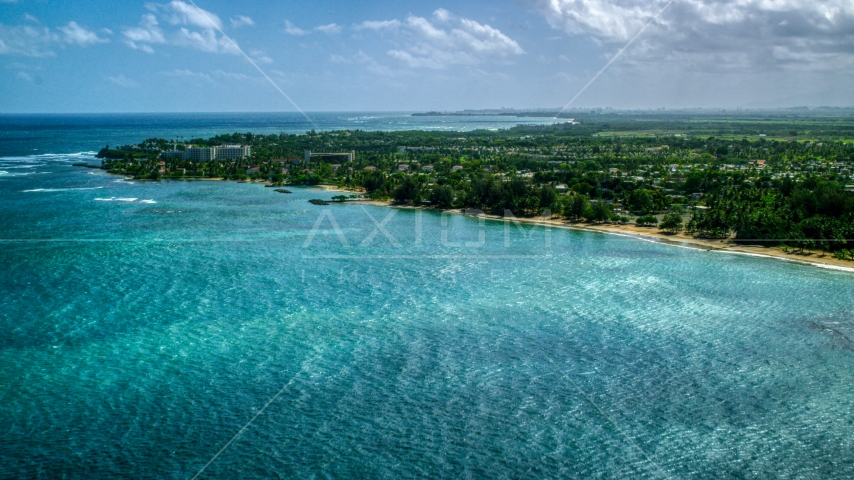 Caribbean island community on the coast in Dorado, Puerto Rico Aerial Stock Photos | AX101_216.0000224F