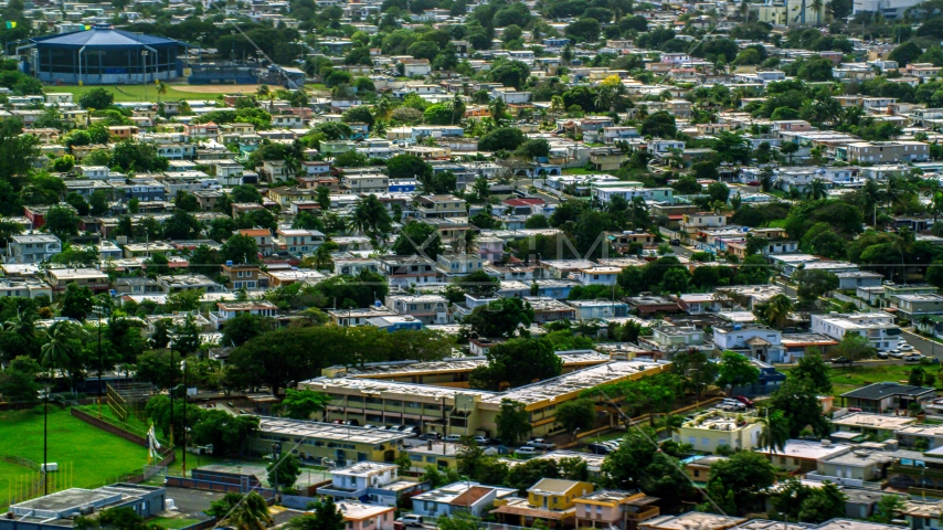 Residential neighborhood in Toa Baja, Puerto Rico  Aerial Stock Photos | AX101_229.0000097F
