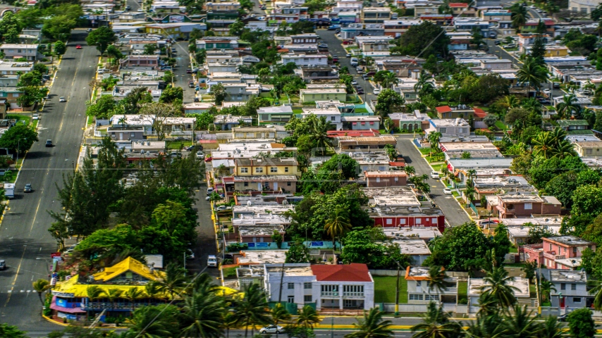 A residential neighborhood in Toa Baja, Puerto Rico  Aerial Stock Photo AX101_230.0000214F | Axiom Images