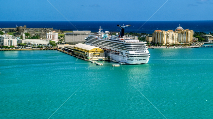 Cruise ship anchored at the Port of San Juan, Puerto Rico  Aerial Stock Photo AX101_237.0000257F | Axiom Images