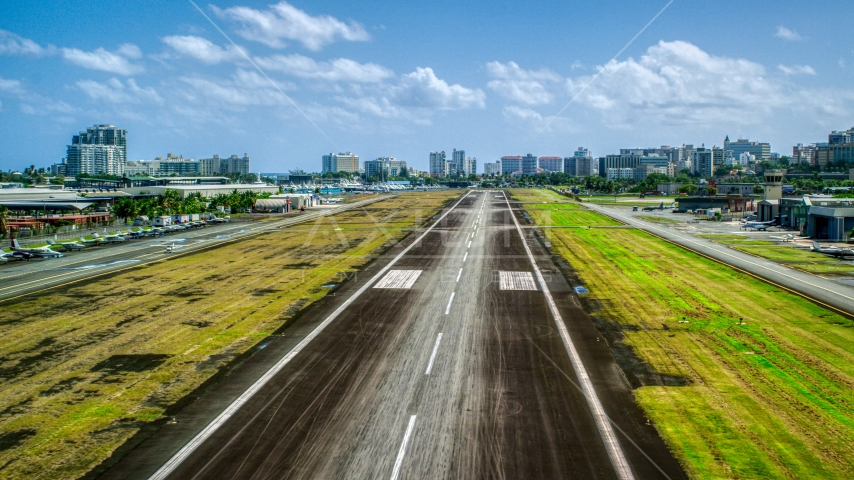 The runway of the Isla Grande Airport, on the Caribbean island of Puerto Rico Aerial Stock Photos | AX101_238.0000291F