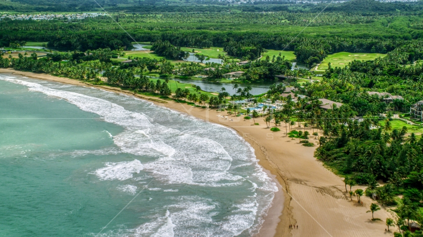 The St. Regis Bahia Beach Resort in Rio Grande, Puerto Rico  Aerial Stock Photos | AX102_040.0000000F