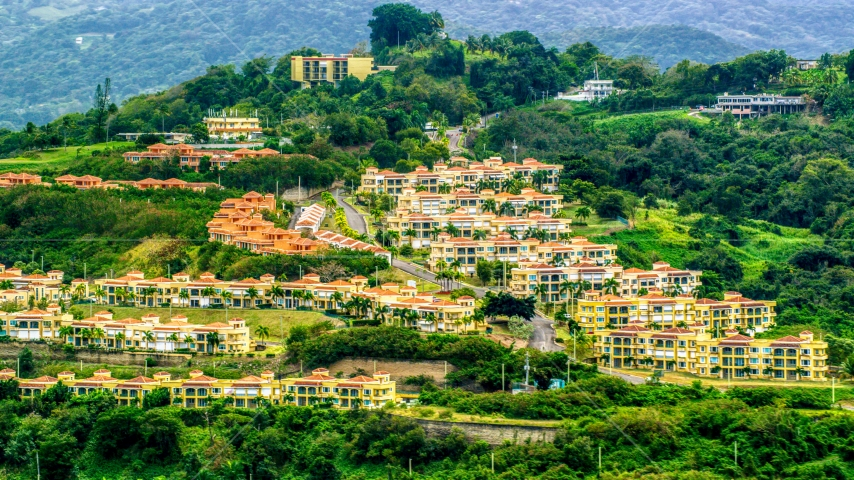 Condos on a tree covered hillside, Rio Grande, Puerto Rico  Aerial Stock Photos | AX102_045.0000108F