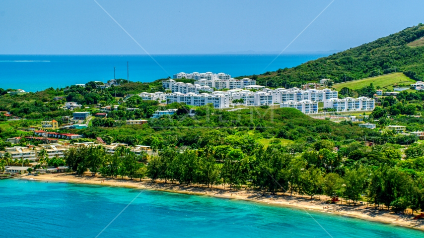 The Ocean Club at Seven Seas and the beach, Fajardo, Puerto Rico  Aerial Stock Photo AX102_059.0000000F | Axiom Images