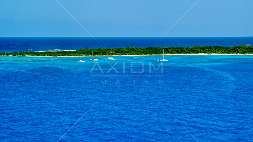 Catamarans near an island in tropical blue waters, Rada Fajardo, Puerto Rico Aerial Stock Photos | AX102_073.0000000F