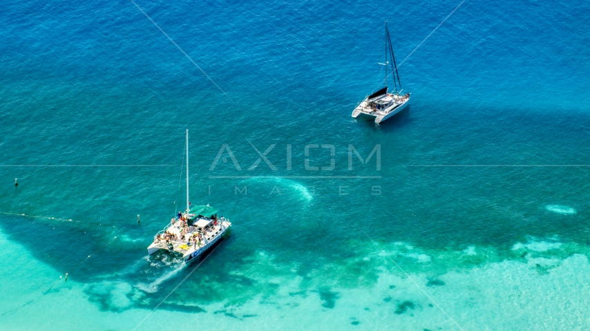 Catamarans in clear blue tropical waters, Rada Fajardo, Puerto Rico Aerial Stock Photos | AX102_075.0000147F