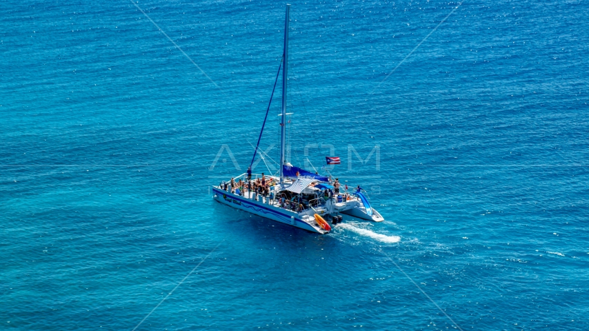 Catamaran with people in tropical blue water, Rada Fajardo, Puerto Rico Aerial Stock Photos | AX102_077.0000141F