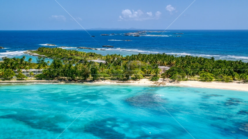 Small island with trees and tropical blue waters, Puerto Rico  Aerial Stock Photos | AX102_084.0000000F