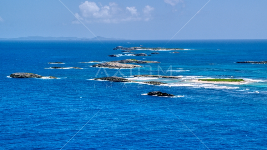 Tiny islands in tropical blue waters, Puerto Rico Aerial Stock Photos | AX102_085.0000000F
