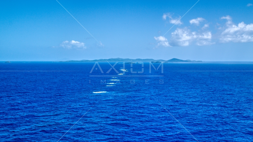Tiny islands in sapphire blue ocean water, Culebra, Puerto Rico  Aerial Stock Photos | AX102_097.0000000F