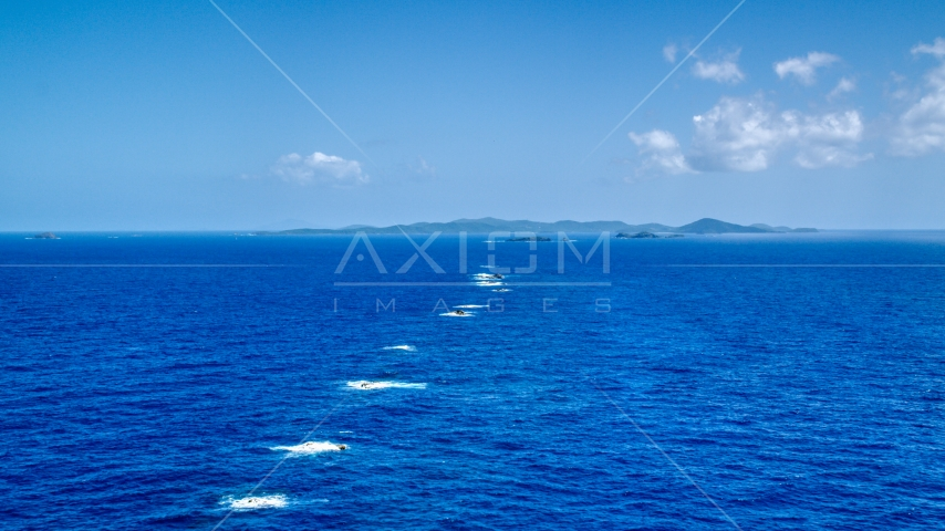 Tiny islands in sapphire blue ocean waters near Culebra, Puerto Rico Aerial Stock Photos | AX102_098.0000000F