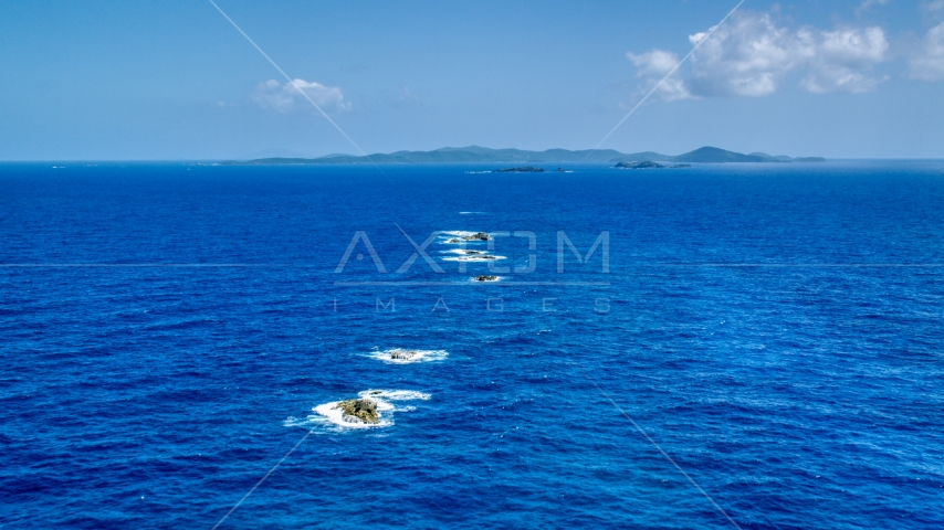 Tiny islands in sapphire blue ocean water, Culebra, Puerto Rico Aerial Stock Photo AX102_099.0000000F | Axiom Images