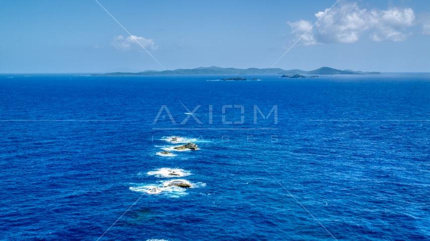 Tiny islands near the larger Caribbean island of Culebra, Puerto Rico  Aerial Stock Photo AX102_100.0000000F | Axiom Images