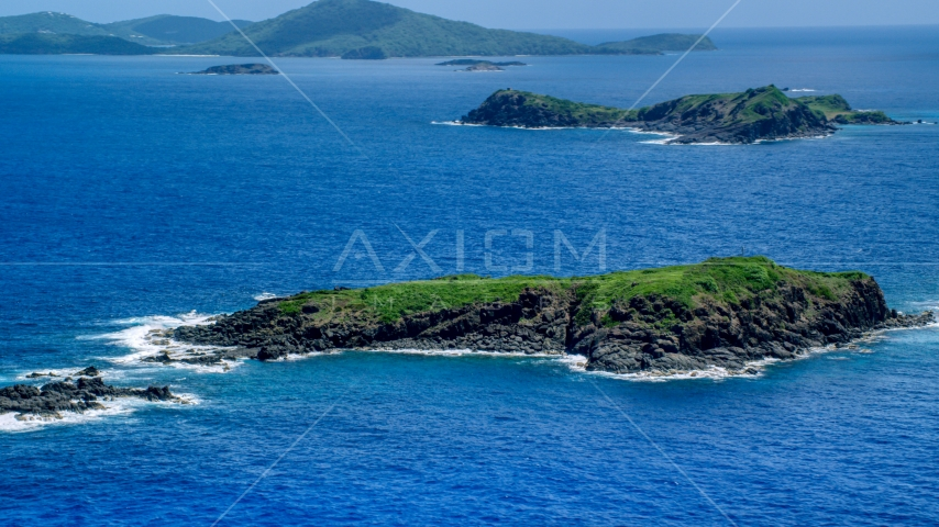 Tiny island in crystal blue waters, Culebra, Puerto Rico Aerial Stock Photos | AX102_103.0000000F