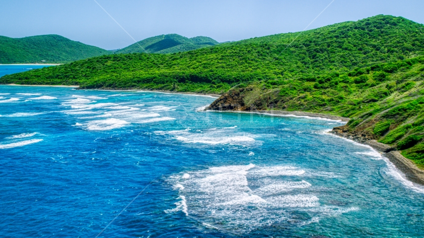 Sapphire blue waters and green covered coastline, Culebra, Puerto Rico  Aerial Stock Photo AX102_110.0000000F | Axiom Images