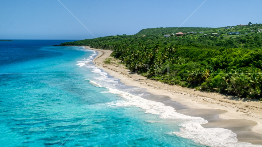 Waves rolling toward a Caribbean island beach with palm trees, Culebra, Puerto Rico  Aerial Stock Photos | AX102_130.0000151F