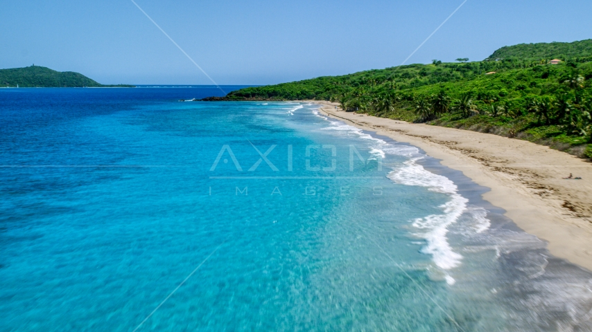 Tropical Caribbean beach and turquoise waters, Culebra, Puerto Rico Aerial Stock Photo AX102_131.0000117F | Axiom Images
