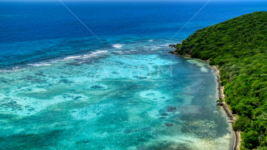 Sapphire blue waters by the Caribbean island of Culebra, Puerto Rico  Aerial Stock Photos | AX102_137.0000280F