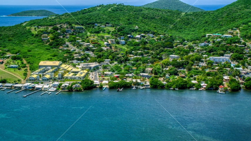 Factory and waterfront property in a small town, Culebra, Puerto Rico  Aerial Stock Photos | AX102_144.0000000F